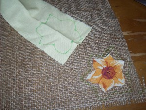 how to make burlap flowers - step 3