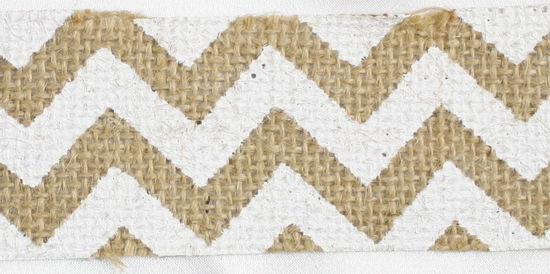"1.5"" White Cut Chevron Burlap Ribbon - 10 Yards"