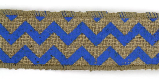 "1.5"" Dark Blue Chevron Burlap Ribbon - 10 Yards"