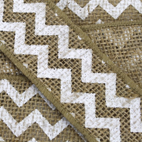"1.5"" White Chevron Burlap Ribbon - 10 Yards"