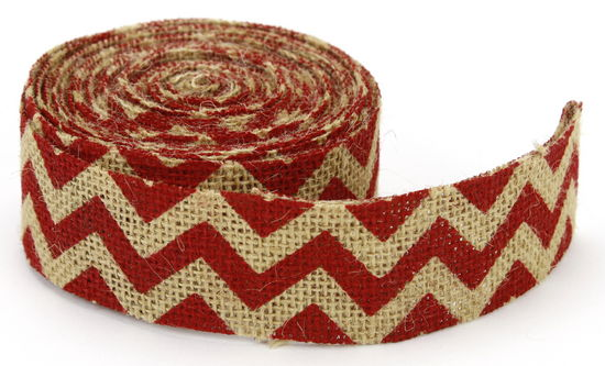 "1.5"" Cut Red Chevron Burlap Ribbon - 10 Yards"