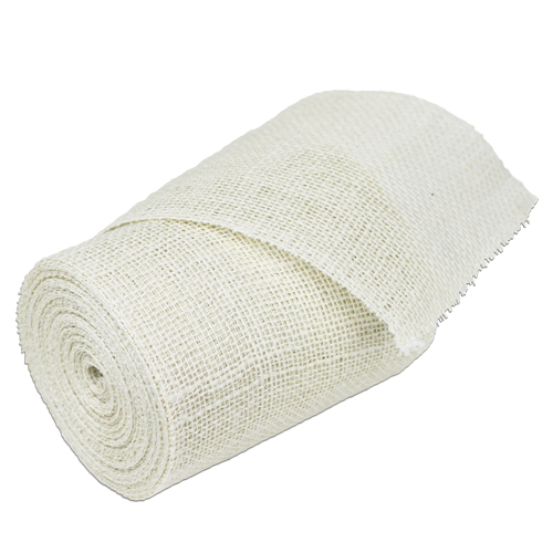 "6"" Off White Burlap Ribbon - 10 Yards (serged)"