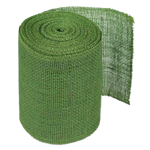 "6"" Green Burlap Ribbon - 10 Yards (serged)"
