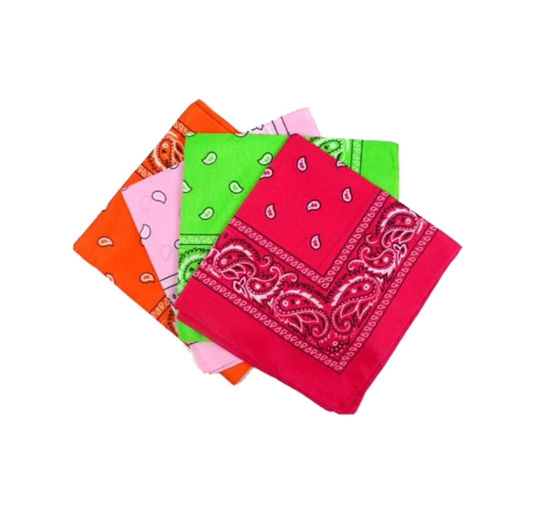 "Paisley Bandanas Pink, Red, Lt Green, Hot Pink 22"" Cotton 12 PK"