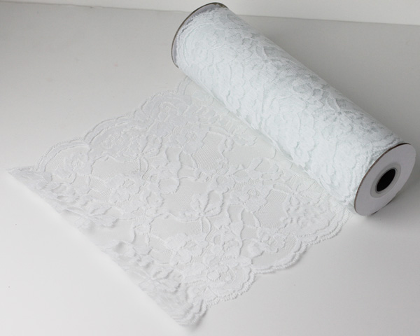 "14"" White Lace Runner - 10 Yards"