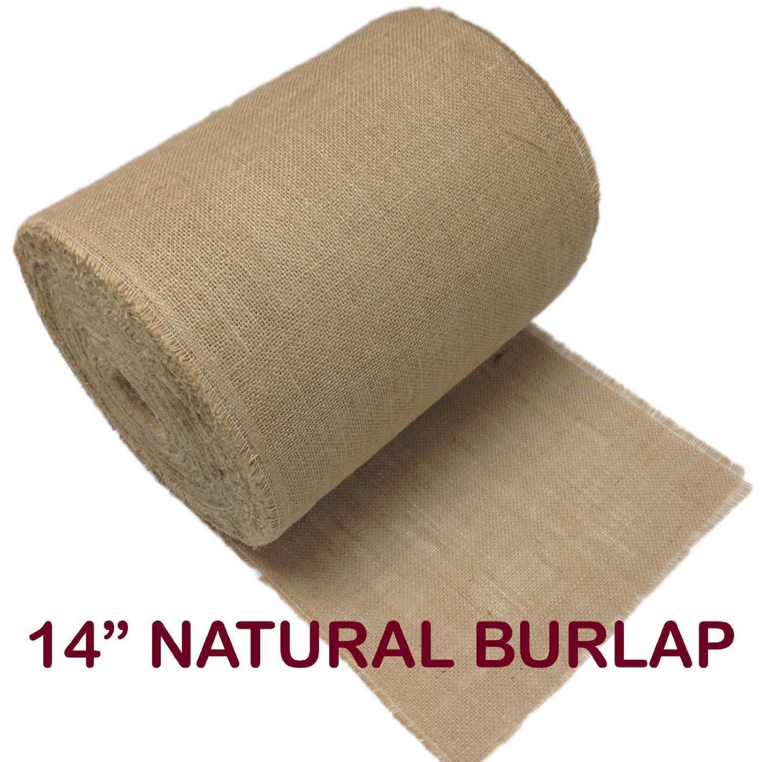 "14"" 100 Yard Premium Burlap Roll with Frayed Edges"