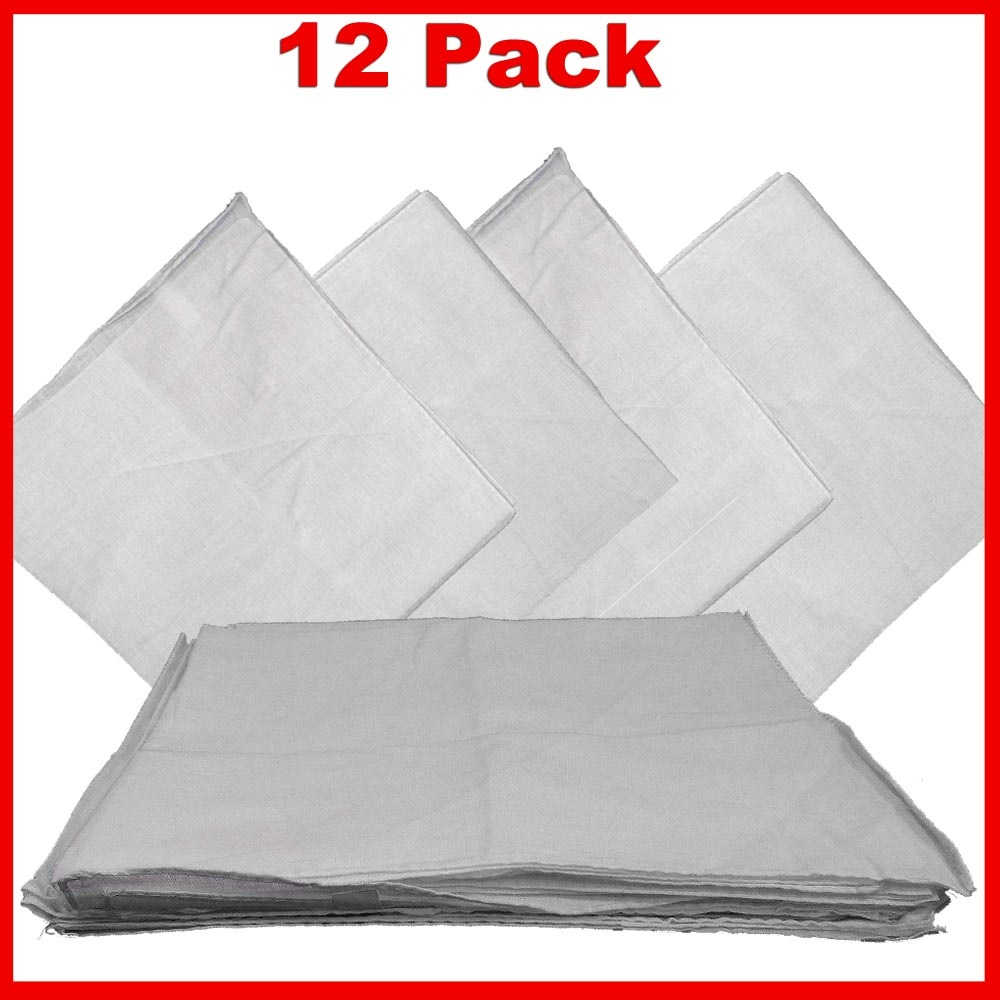 "14"" x 14"" White Bandanas Solid Color (12 Pk) 100% Cotton"