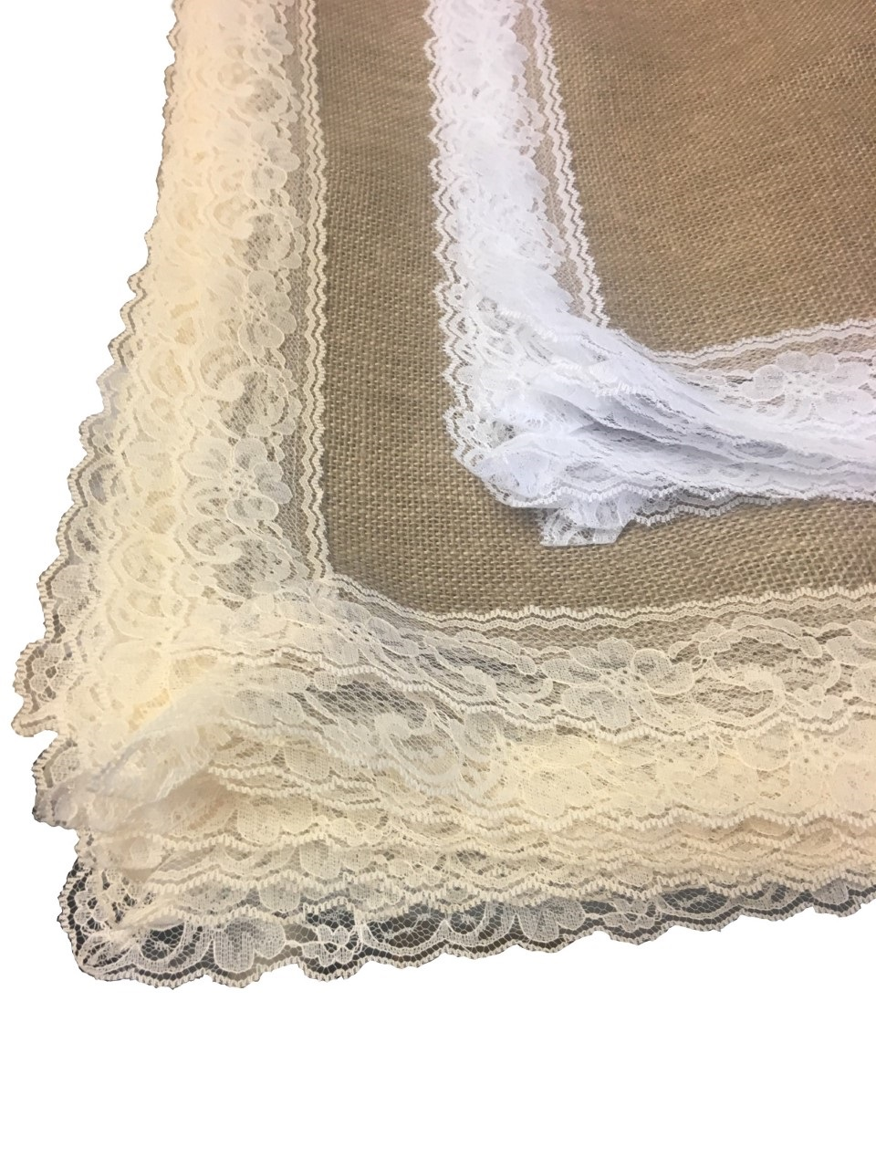 "Burlap Placemats With Lace (12 Pk) 18"" x 18"""