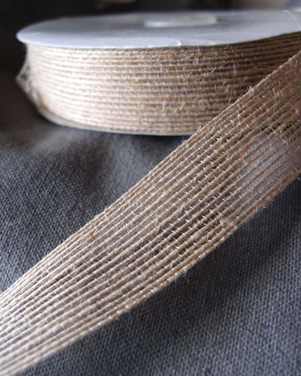"1"" Wide Natural Jute Ribbon - 25 Yards (sewn)"