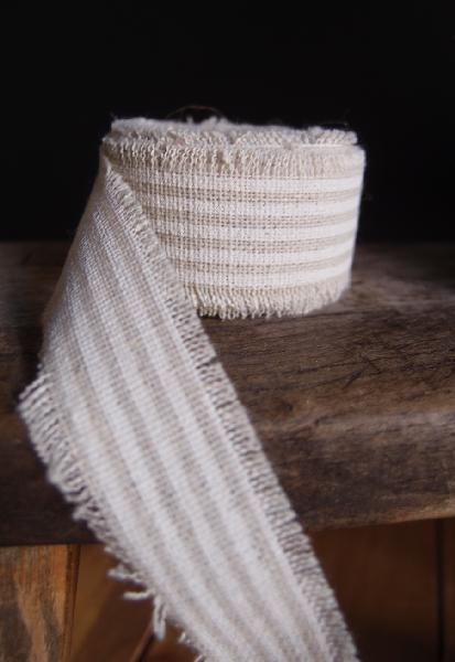 "1"" Linen Ribbon White Stripes - 5 Yards Fringed Edges"