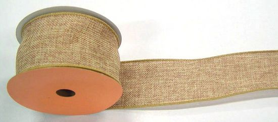"2.5"" Natural Faux Burlap Ribbon - 10 Yards"
