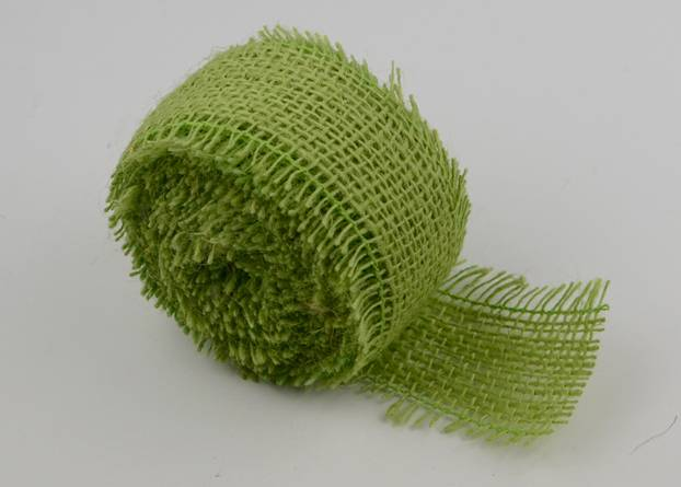 "2.5"" Burlap Ribbon Green - 10 Yards (serged)"