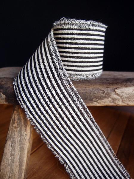 "2"" Linen Ribbon Black Stripes - 5 Yards Fringed Edges"