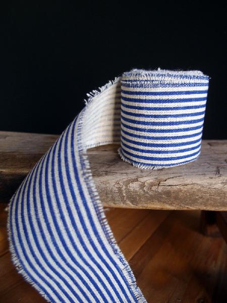 "2"" Linen Ribbon Ocean Blue Stripes - 5 Yards Fringed Edges"