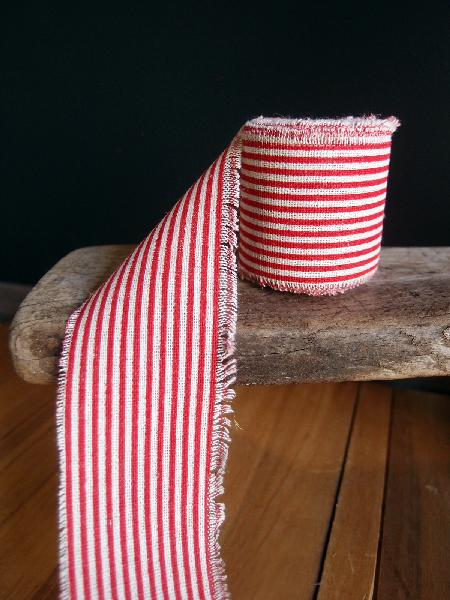 "2"" Linen Ribbon Red Stripes - 5 Yards Fringed Edges"