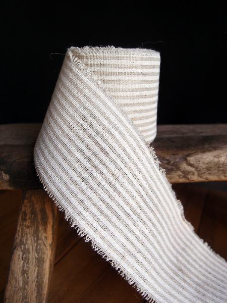 "2"" Linen Ribbon White Stripes - 5 Yards Fringed Edges"