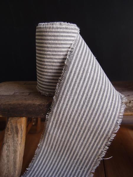 "3"" Linen Ribbon Pewter Stripes - 5 Yards Fringed Edges"