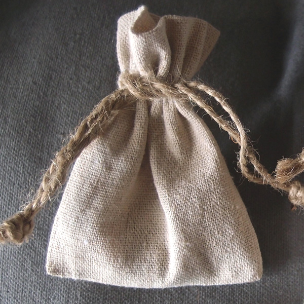 3 x 4 Linen Favor Bags with Jute Draw (dozen)
