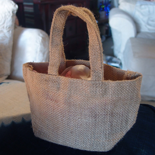 "Burlap Flower Girl Basket - 4"" x 4"" x 4"" (Natural)"