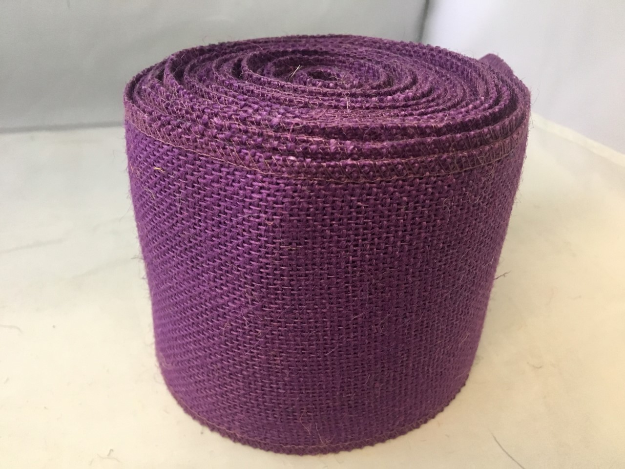 "4"" Purple Burlap Ribbon - 10 Yards (Sewn Edges)"