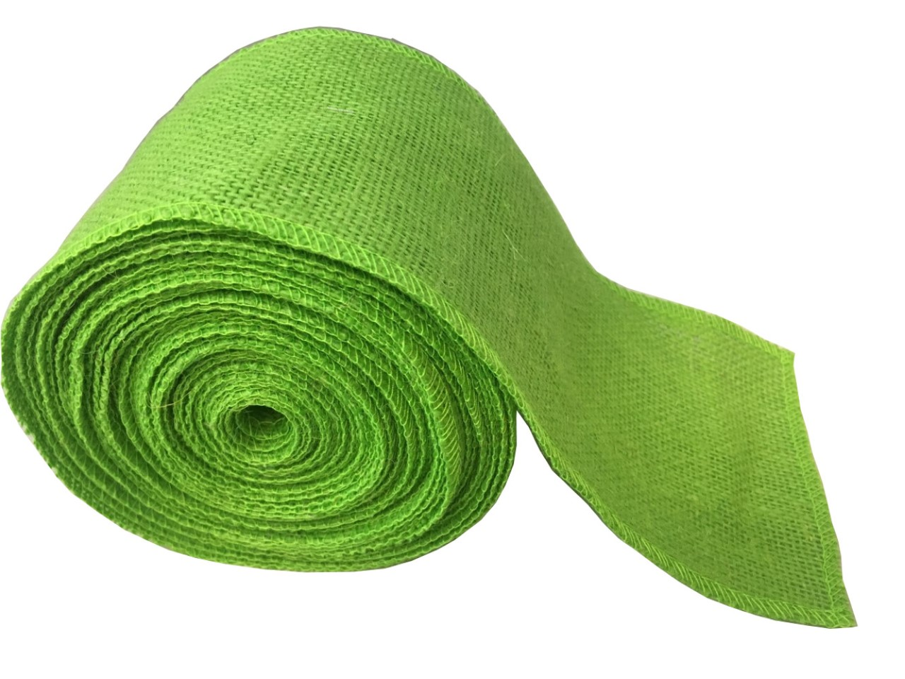 "4"" Lime Burlap Ribbon - 10 Yards (Sewn Edges)"