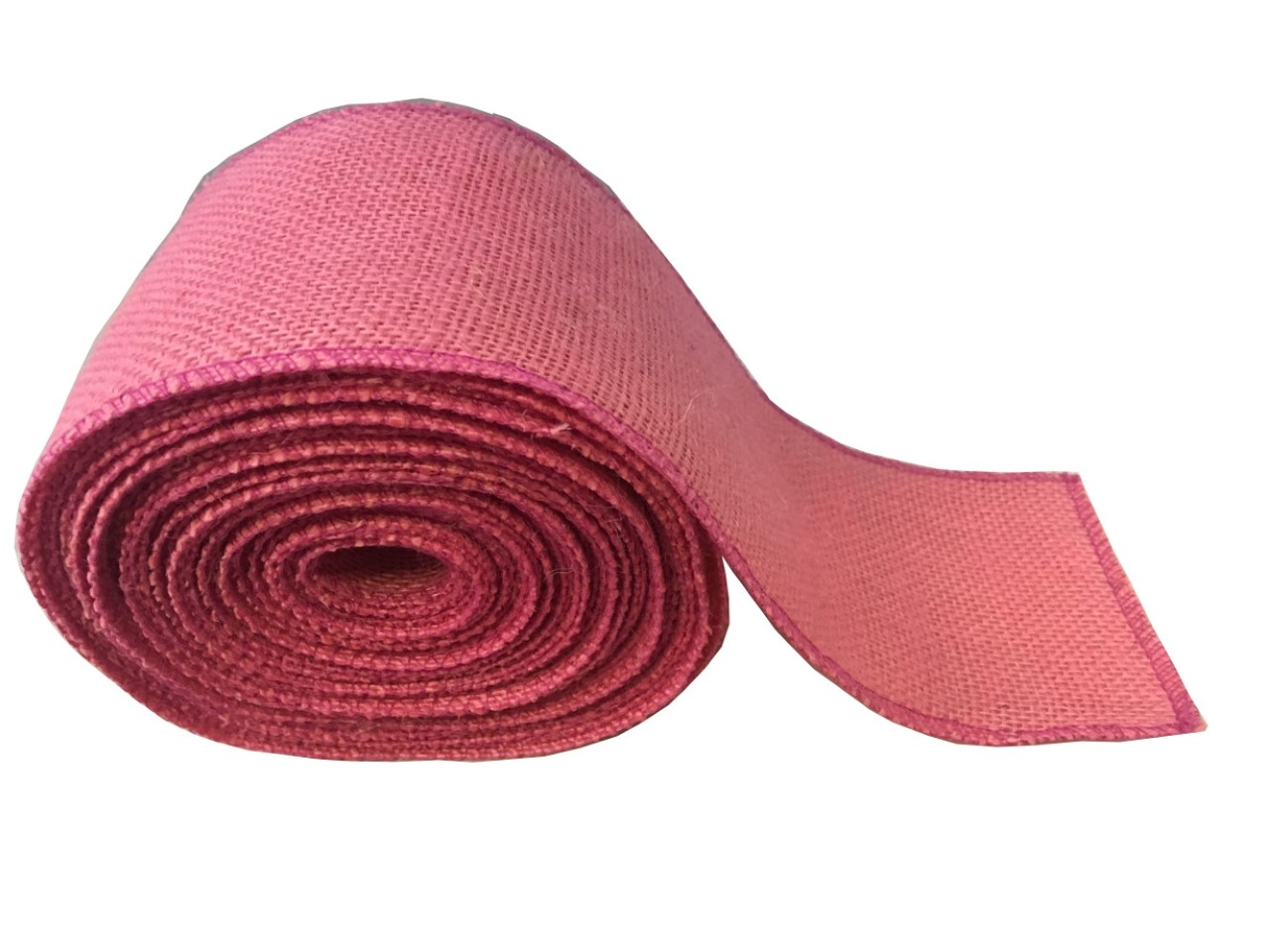 "4"" Pink Burlap Ribbon - 10 Yards (Sewn Edges)"