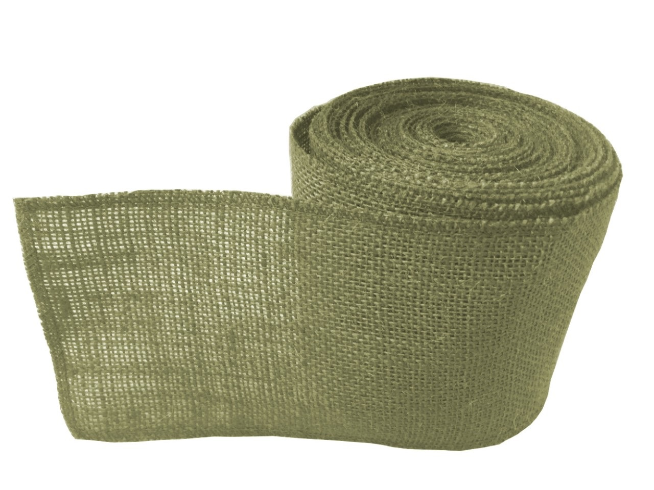 "4"" Sage Burlap Ribbon - 10 Yards (Sewn Edges)"