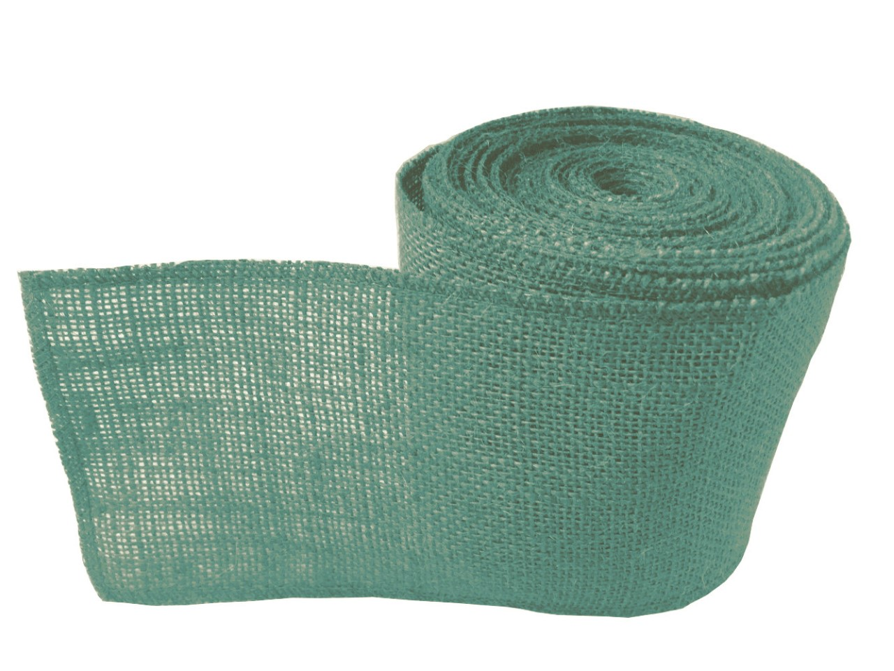 "4"" Teal Burlap Ribbon - 10 Yards (Sewn Edges)"