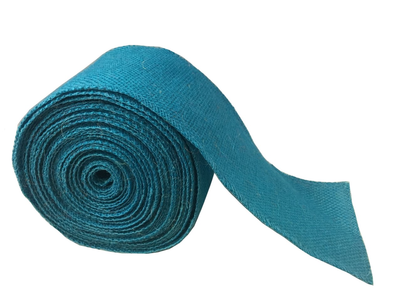 "4"" Turquoise Burlap Ribbon - 10 Yards (Sewn Edges)"