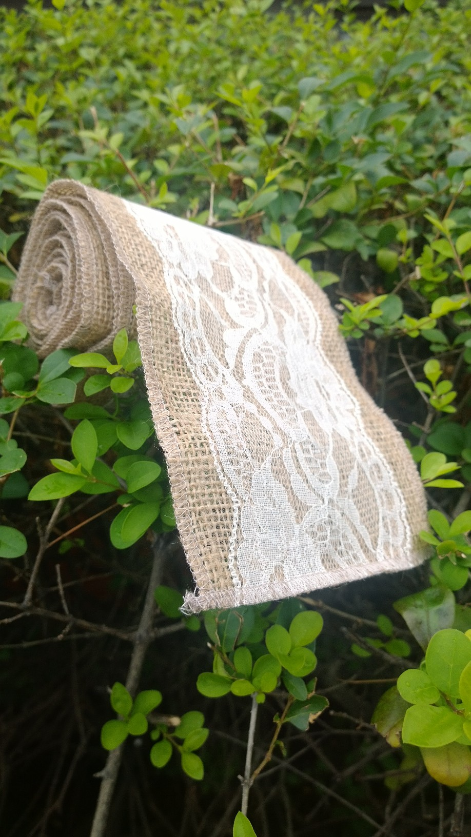 "5"" Ivory Burlap Lace Ribbon - 5 Yards (4"" Lace)"
