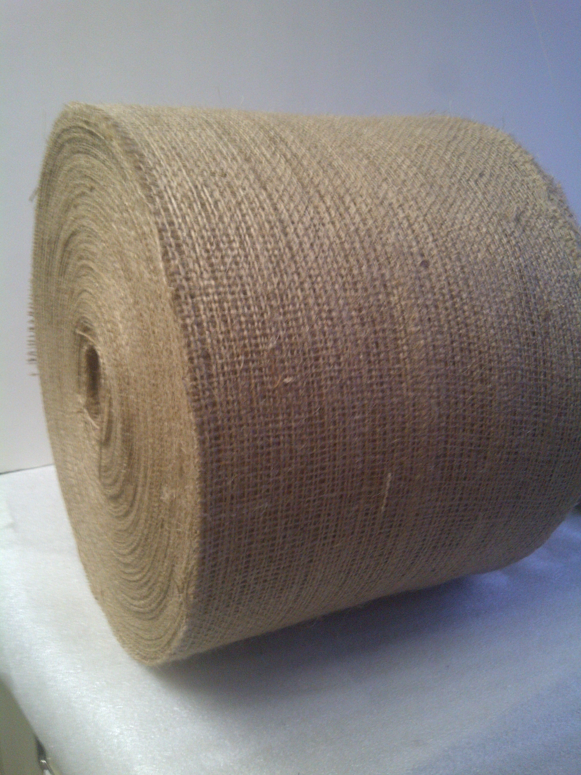 "100 Yards of 5"" Inch 10oz Burlap Ribbon (cut edges)"