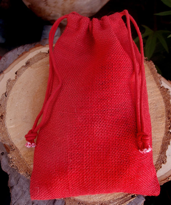 "Red Burlap Drawstring Bags 6"" x 10"" (12 Pack)"