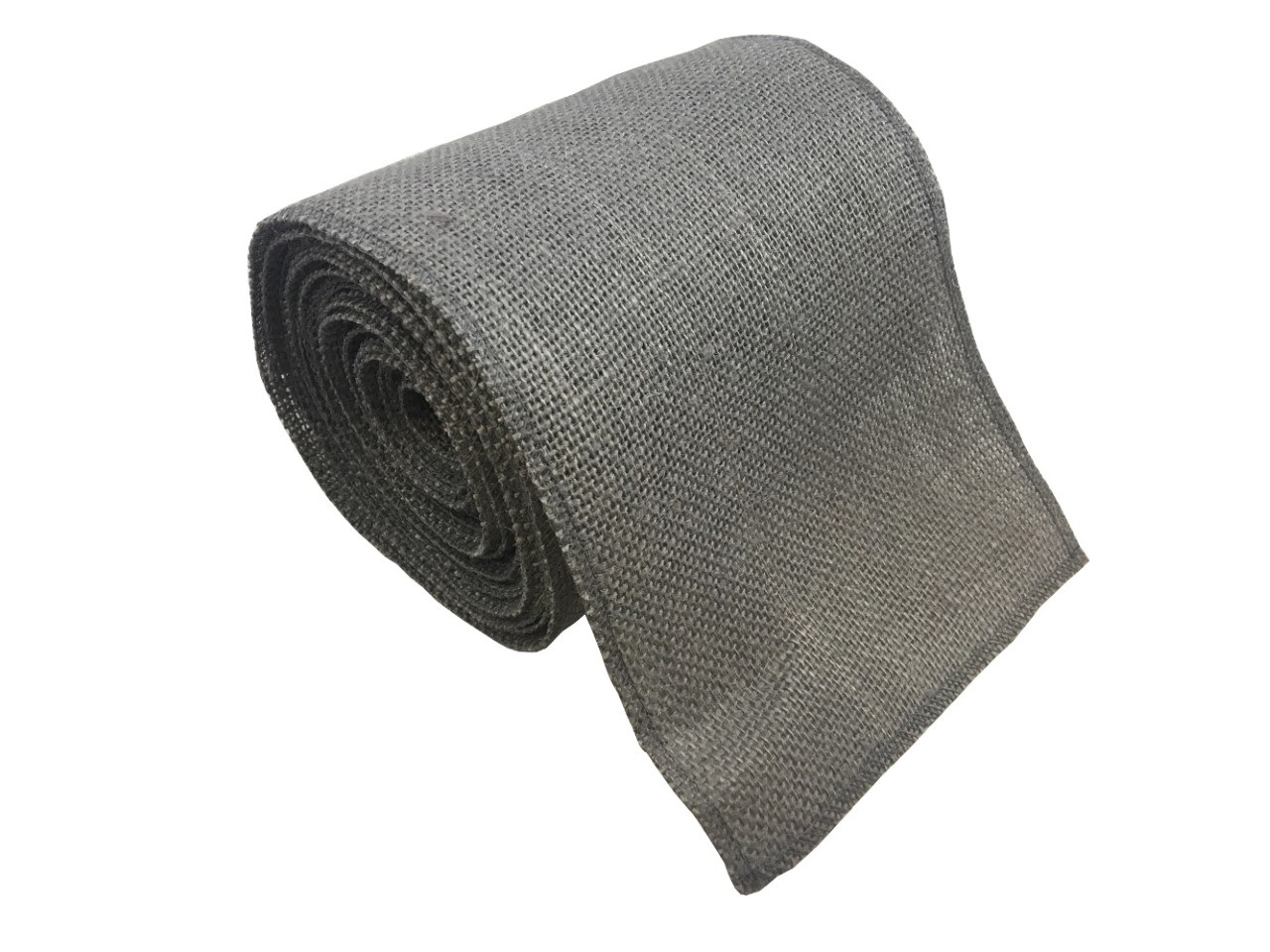 "6"" Charcoal Grey Burlap Ribbon - 10 Yards (Serged)"