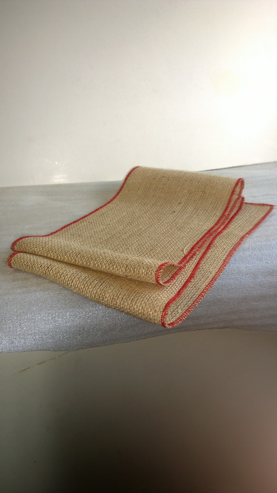 "6"" Burlap Ribbon with Red Edge - 10 Yards"
