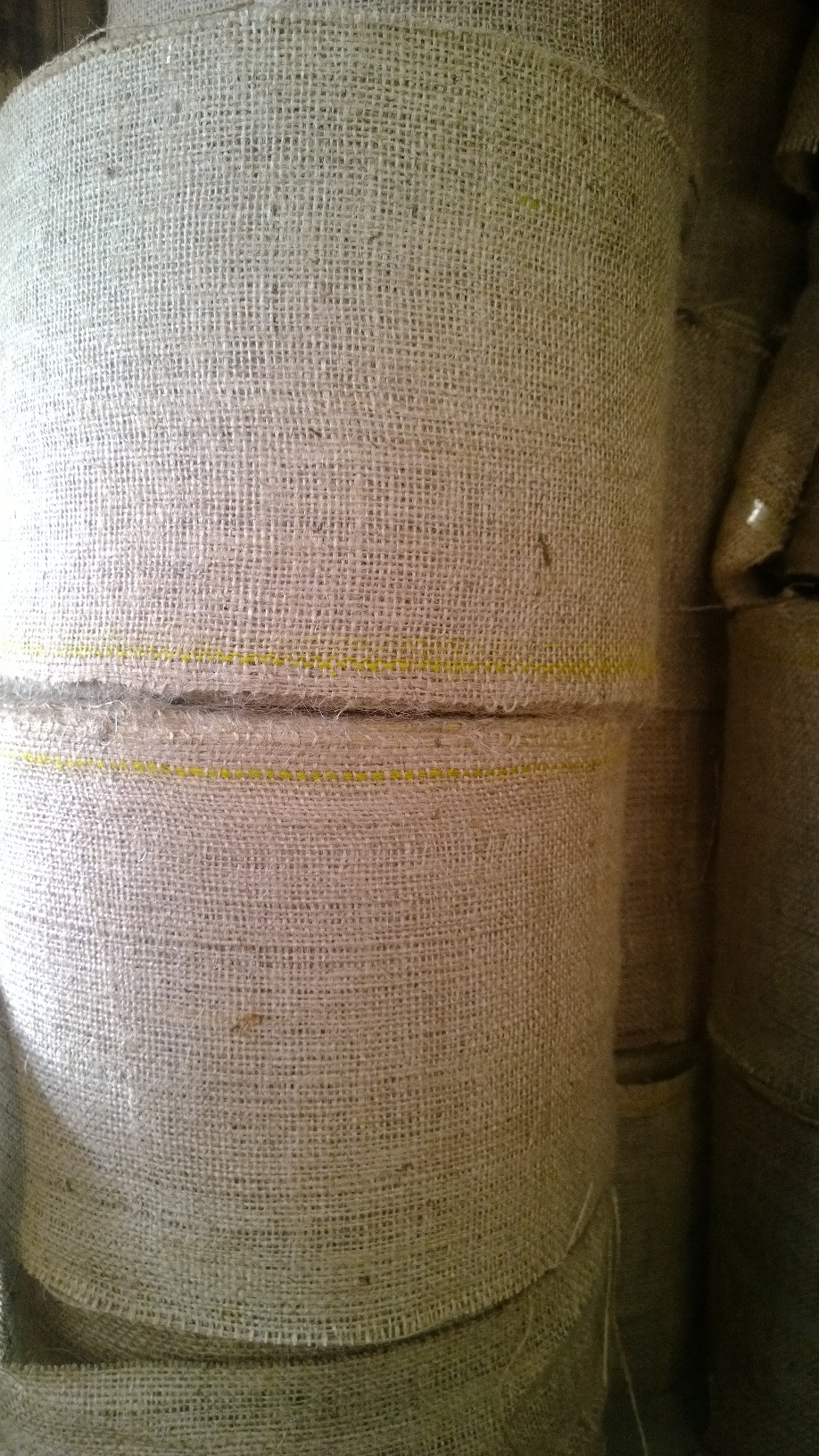 8 inch wide 10oz burlap roll - 100 Yards (colored stripe)