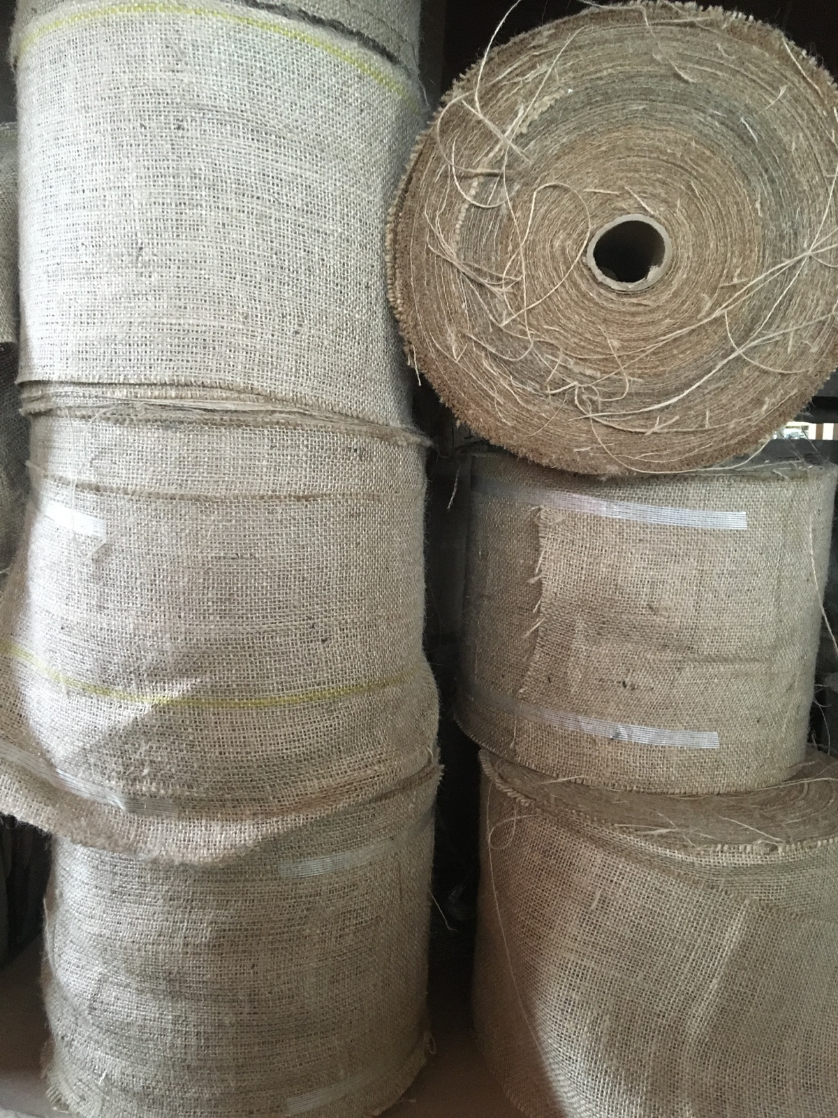 7 inch wide burlap roll - 100 Yards (possibly colored stripe)