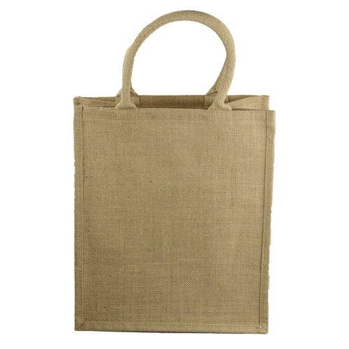 "12"" x 8"" x 14"" Natural Burlap Tote Wine Bag w/Dividers 6 Bottles"