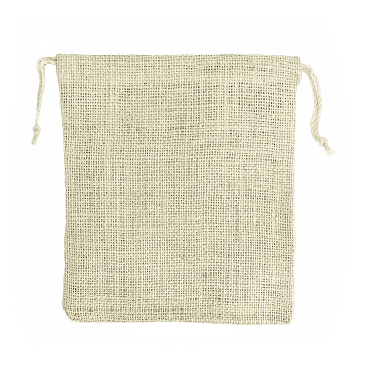 10 x 12 Ivory Burlap Bag with Drawstring (10/pk)