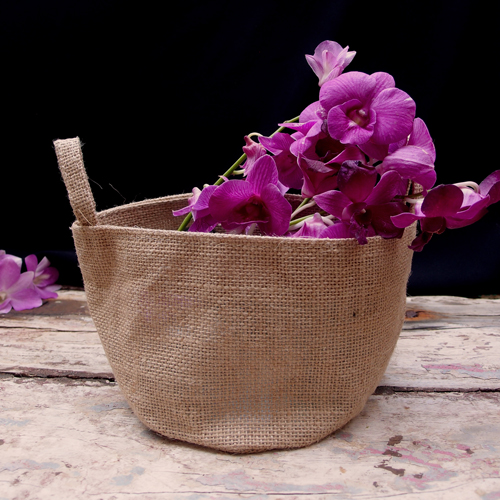 "6.5"" Dia x 4.5""H Burlap Bag - Natural"