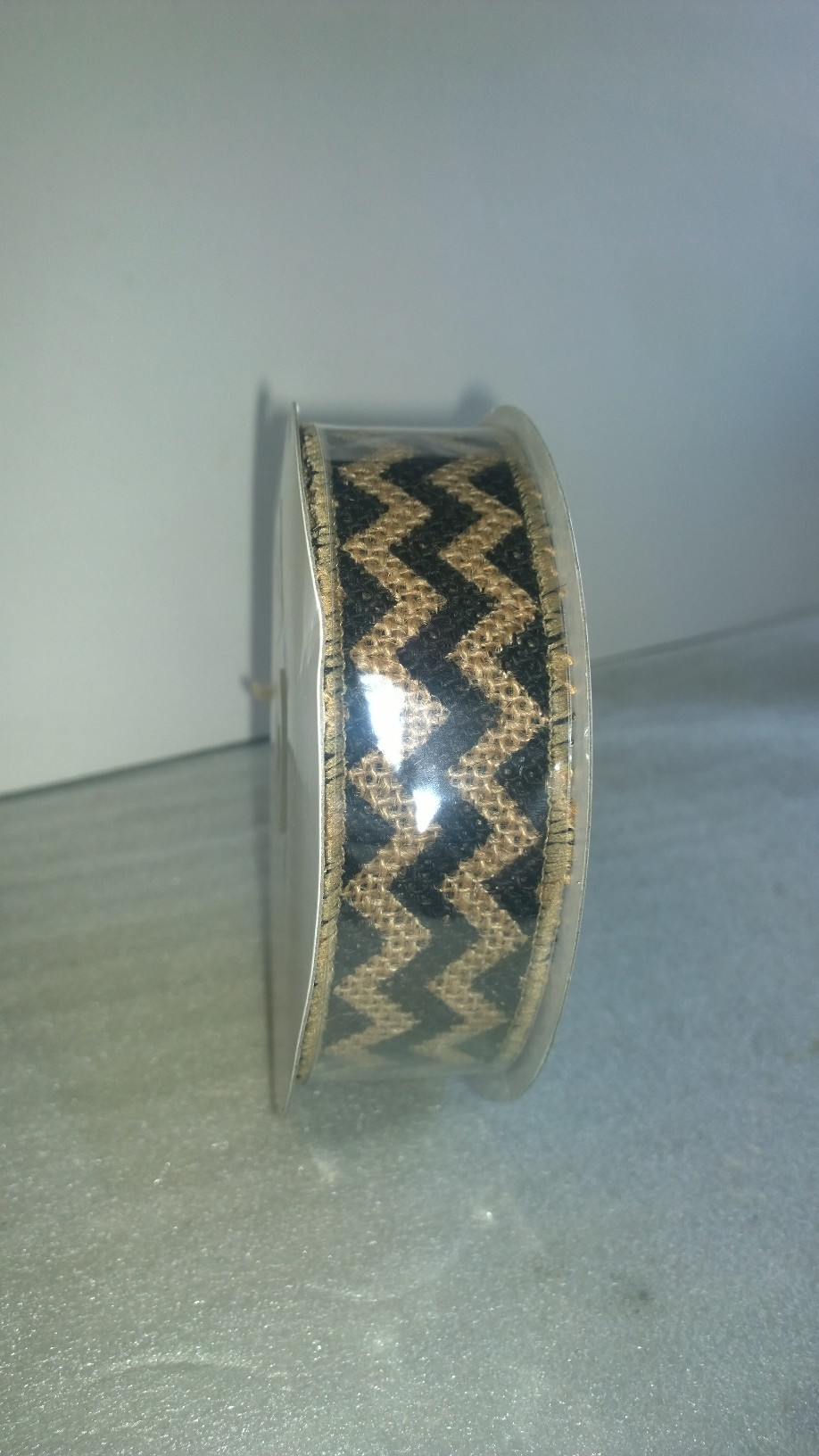 "1.5"" Black Chevron Burlap Ribbon - 10 Yards"