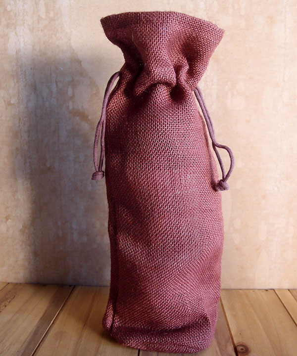 "Burgundy Jute Wine Bag With Drawstring 6"" x 15"" x 3.5"""
