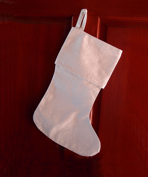 "Canvas Stocking 8"" x 17""H x 12"" foot"