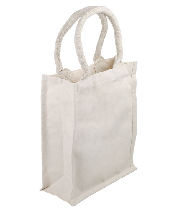 "Canvas Tote Bag 9"" x 11"" x 4"" Natural/White"