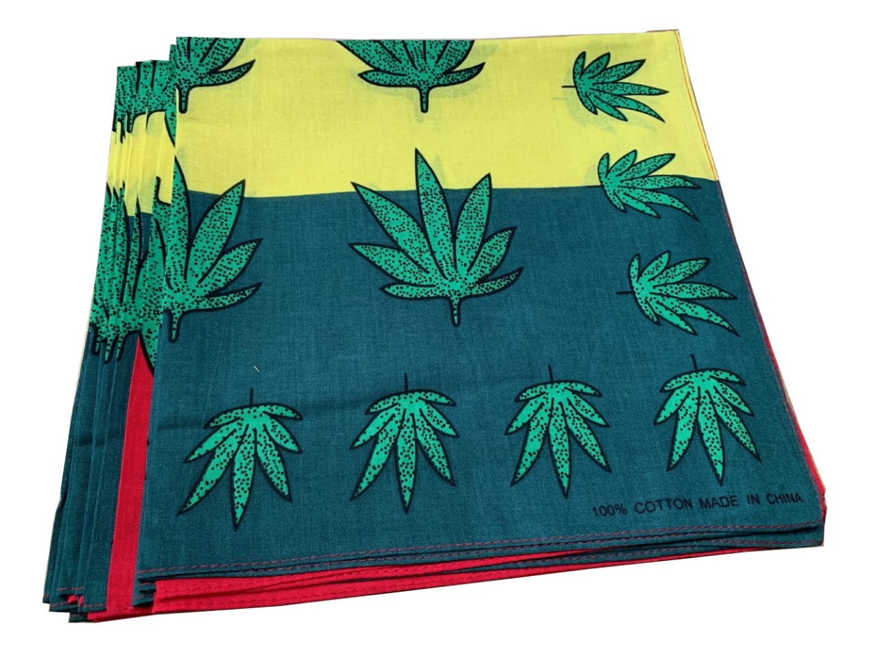 "Marijuana Bandanas Red/Yellow 12 Pack 22"" x 22"" - 100% Cotton"