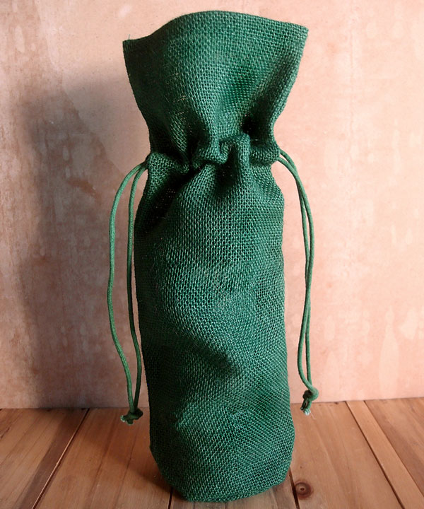 "Hunter Green Jute Wine Bag With Drawstring 6"" x 15"" x 3.5"""