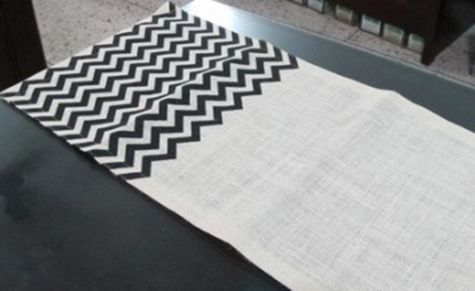 "Chevron Burlap Table Runner - 14"" x 70"" Ivory/Black"