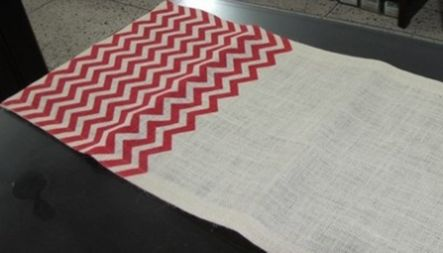 "Chevron Burlap Table Runner - 14"" x 70"" Ivory/Red"