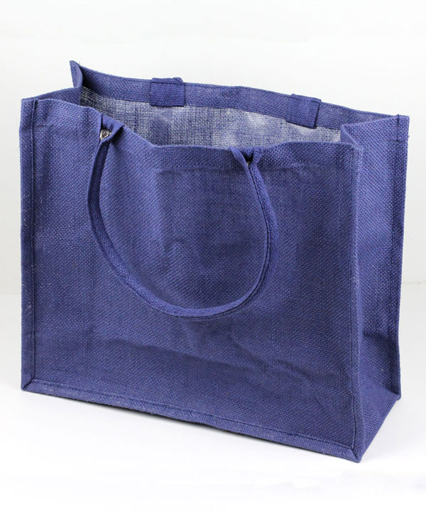 "NAVY BURLAP EURO SHOPPING BAG 15.5"" X 13.75"" X 6"""