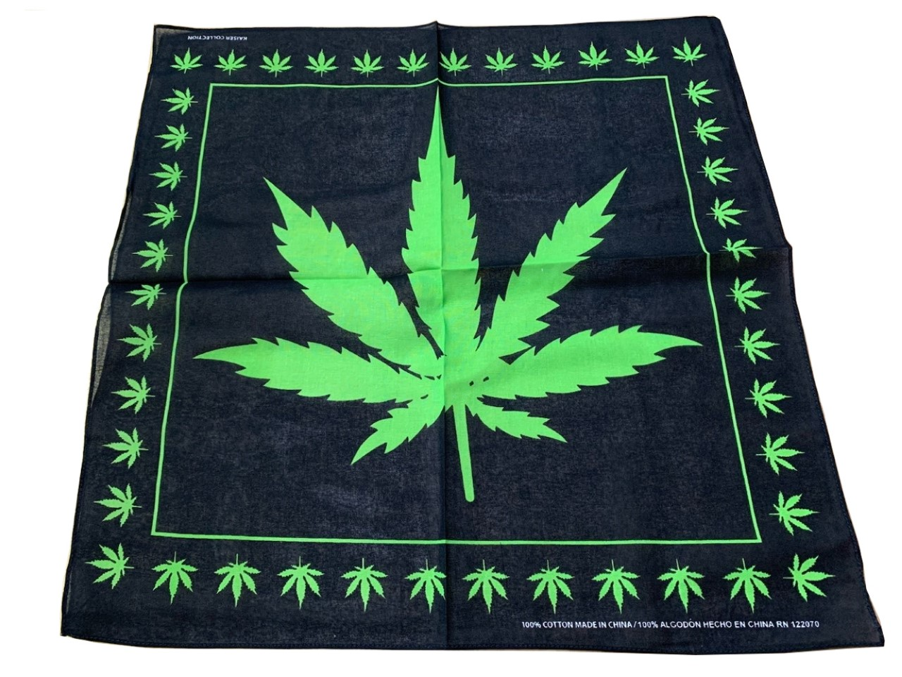 "Marijuana Leaf Bandana 100% cotton 22"" x 22"""