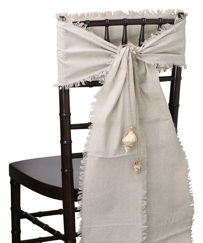 "8"" x 108"" Linen Chair Sashes - Fringed Edges"